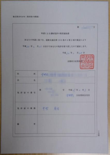 申請による取消通知書